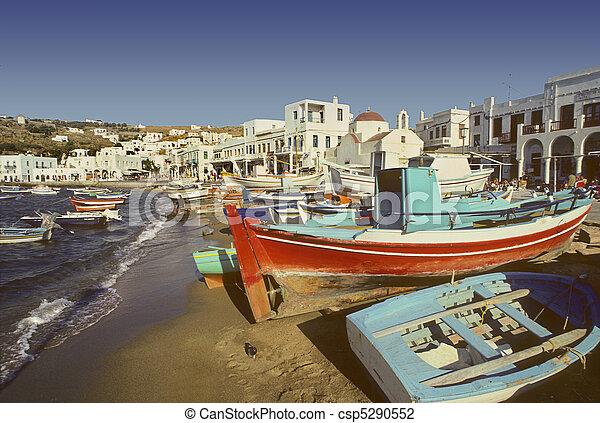 Mykonos beach and harbor, Greece - csp5290552