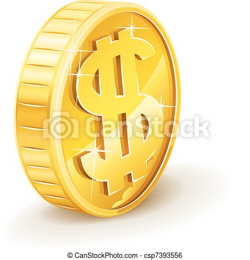 mynt, dollar, guld, underteckna - csp7393556
