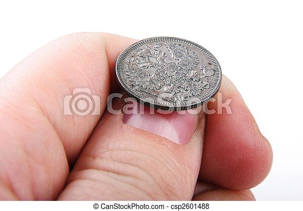 mynt, gammal, hand - csp2601488