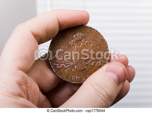 mynt, gammal, hand - csp1776044