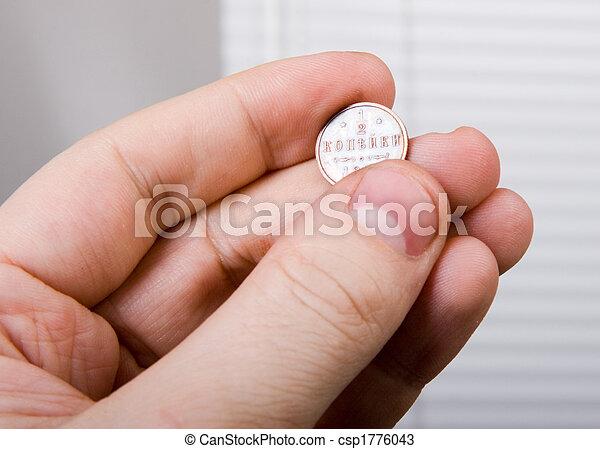 mynt, gammal, hand - csp1776043
