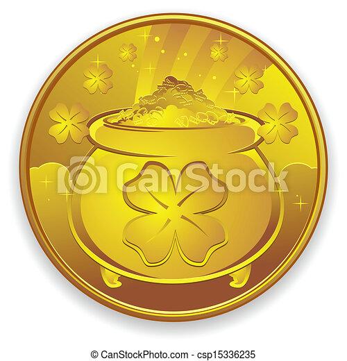 mynt, lycklig, guld, tecknad film - csp15336235