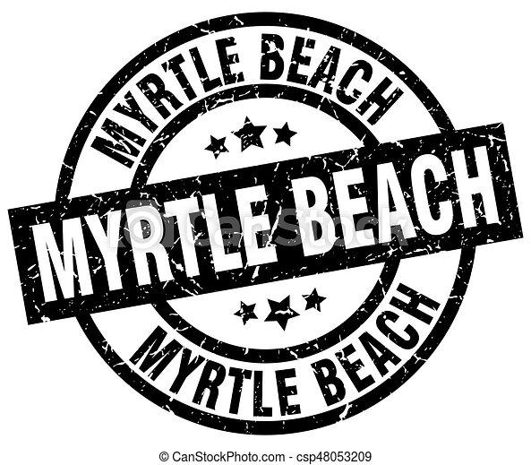 Myrtle beach black round grunge stamp.