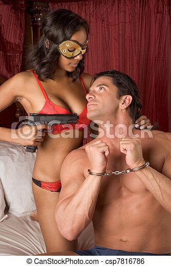 mystère, amour, couple, lit, hétérosexuel, interracial, sensuelles - csp7816786