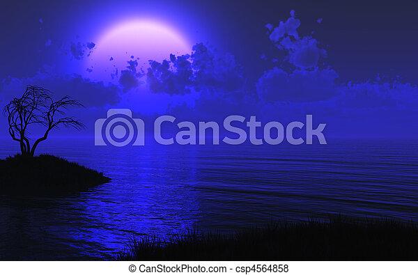 mystérieux, éclairé par la lune, mer, fond - csp4564858