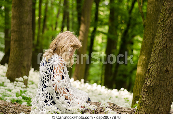 mysterious child in woods - csp28077978