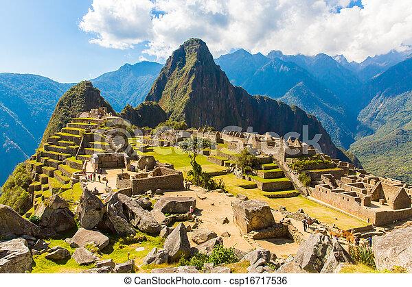 Mysterious city - Machu Picchu, Peru,South America. The Incan ruins. Example of  polygonal masonry and skill - csp16717536