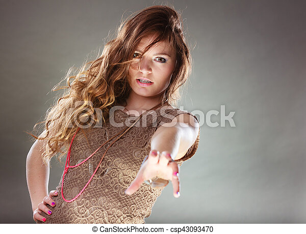 Mysterious enigmatic attractive woman girl. - csp43093470