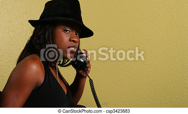 Mysterious Look Of African American Woman - csp3423683