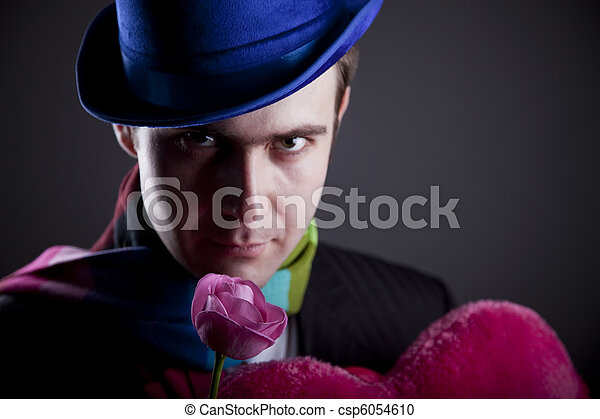 Mysterious men with toy and rose - csp6054610