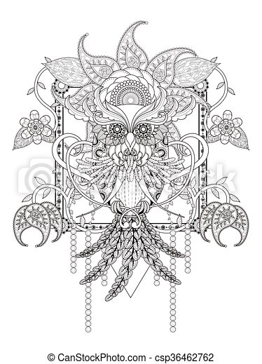 mysterious owl adult coloring - csp36462762