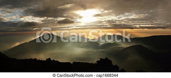 Mysterious sunrise over Haleakala crater - csp1668344