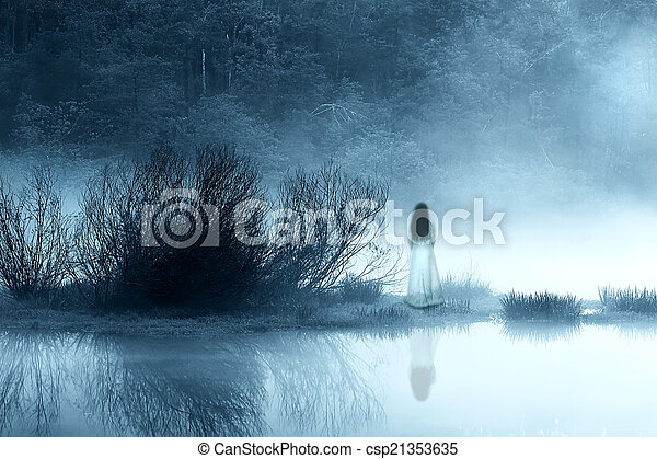 Mysterious Woman in the Mist - csp21353635