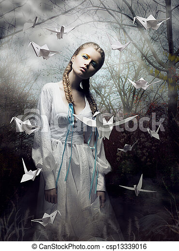 Mystery. Origami. Woman with White Paper Pigeon. Fairy Tale. Fantasy - csp13339016