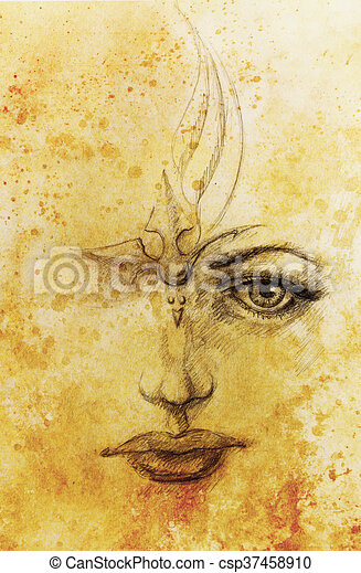 Mystic woman face. pencil drawing on paper, color effect ...