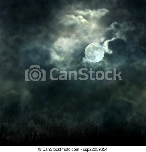 Mystical moonlight flowing from the dark sky to the ground - csp22259354
