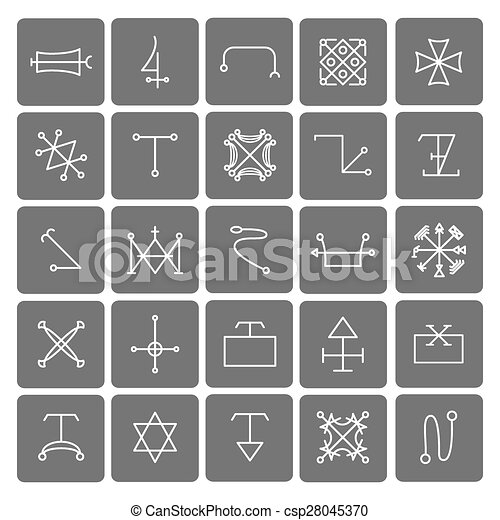 Mystical Symbols And Sacred Signs Icons Set Religion And