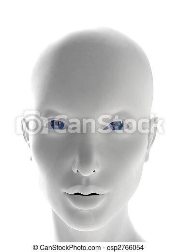 mystique strange woman face computer generated female white plastic