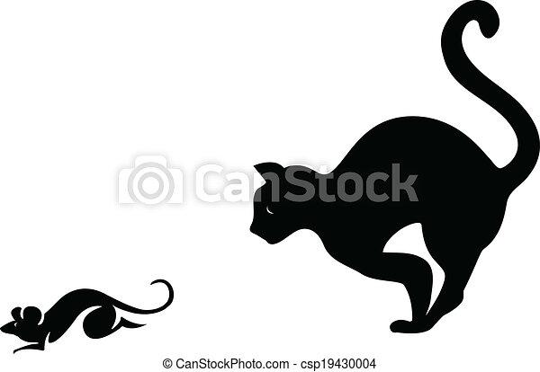 Mysz Kot Cyzelatorstwo Sylwetka Ilustracja Kot Wektor Mysz