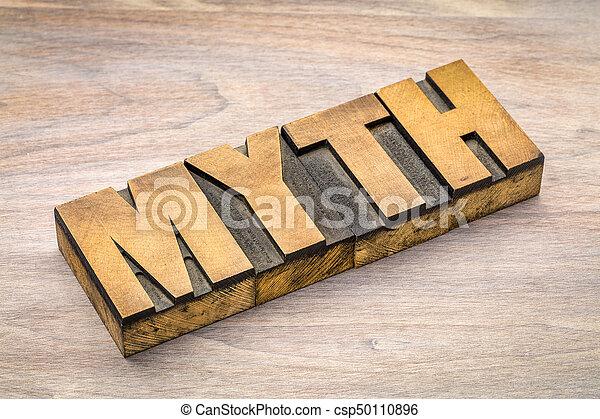 myth word in letterpress wood type - csp50110896