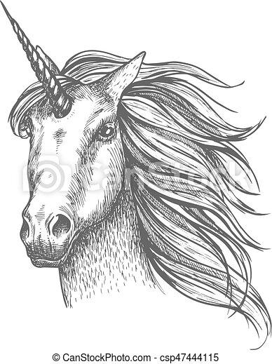 Kleurplaten Paard Met Hoorn Mythic Paarde Vector Schets Eenhoorn Paarde Verhaal