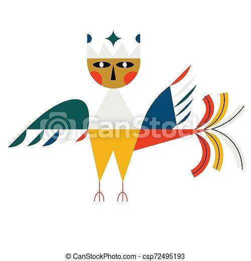 Mythological bird flat color illustration on white - csp72495193