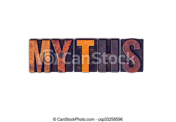 Myths Concept Isolated Letterpress Type - csp33258596