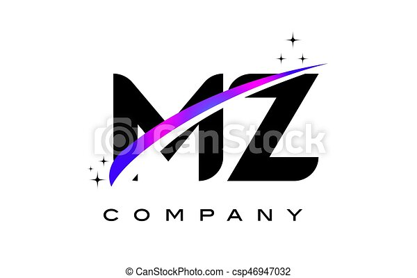 Mz M Z Black Letter Logo Design With Purple Magenta Swoosh And Stars