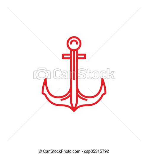 náutico, crucero, línea, barco, mar, marina, barco, ancla, logotipo - csp85315792