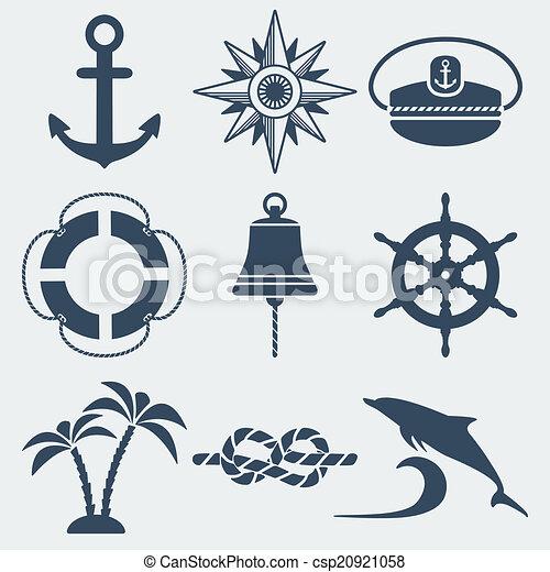 náutico, jogo, marinho, ícones - csp20921058