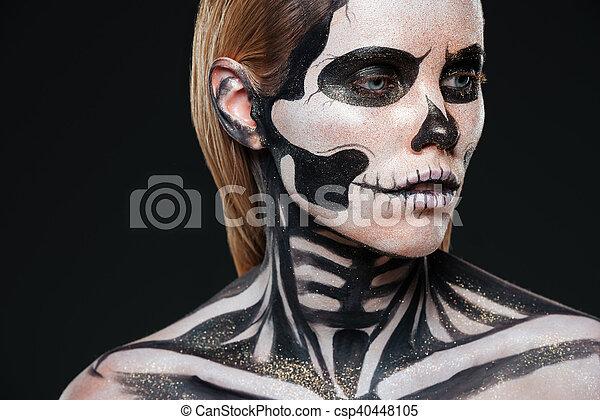 Halloween Sminkek.Narbild Flicka Smink Halloween Terrifying