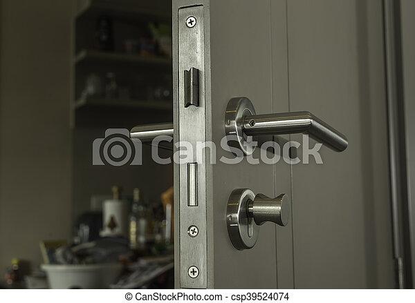 Underbar Närbild, handtag, rum, låsa, ansikte, dörr, silver. Närbild, dörr RK-23