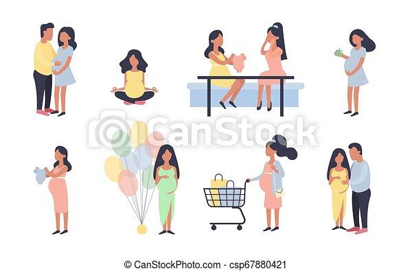 näring, vektor, inköp, aktiviteter, gravid, hälsosam, situations., set., vandrande, tecken, illustration, skur, baby, annat, graviditet, graviditet, under, woman., dagligen, inköp, design. - csp67880421