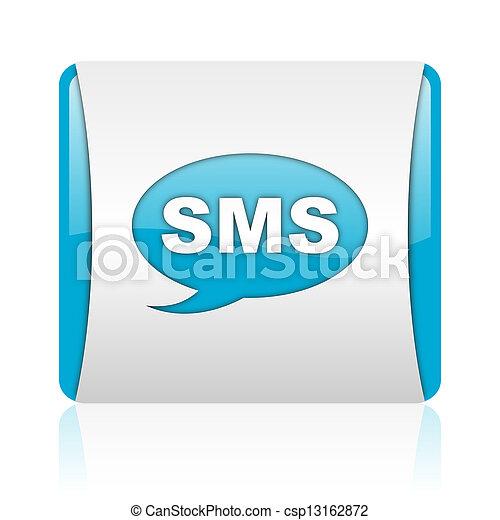 nät, glatt, sms, blåttar kvadrerar, ikon, vit - csp13162872