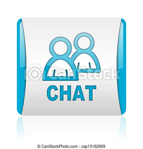 nät, pratstund, glatt, fyrkant, blå, ikon, vit - csp13162909
