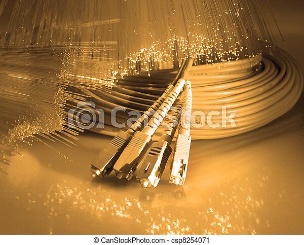 nätverk, fiber, optisk, kabel - csp8254071