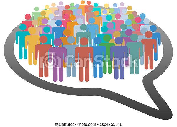 nätverk, folkmassa, folk, media, anförande, social, bubbla - csp4755516
