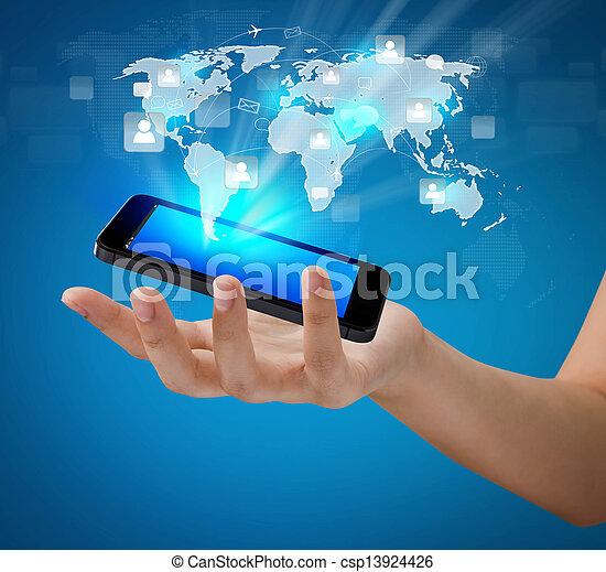 nätverk, visa, rörligt meddelande, nymodig, hand, ringa, holdingen, social, teknologi - csp13924426