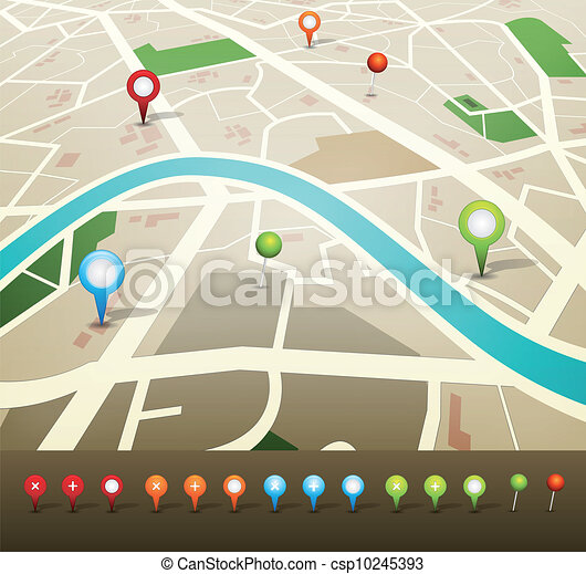 nålen, karta, gps, gata, ikonen - csp10245393