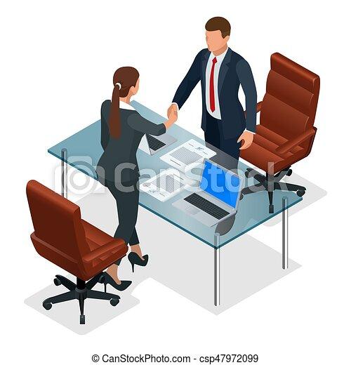 négociation, ou, isométrique, productif, business, bureau., concept., après, association, businesspeople, illustration, constructif, vecteur, confrontation, entrevue, poignée main - csp47972099