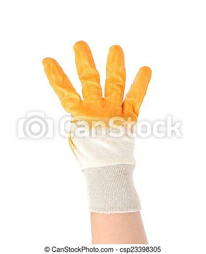 négy, fingers., kiállítás, kesztyű, kéz - csp23398305