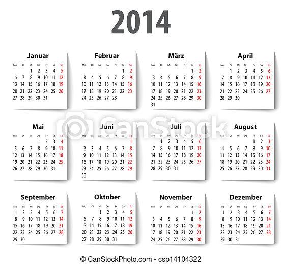 2o14 naptár Német, shadows., mondays, 2014, naptár, először. Vektor, first  2o14 naptár