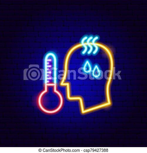 néon, température, élevé, signe, humain - csp79427388