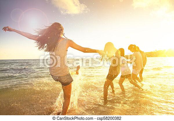 nöje, strand, ha, familj, lycklig - csp58200382