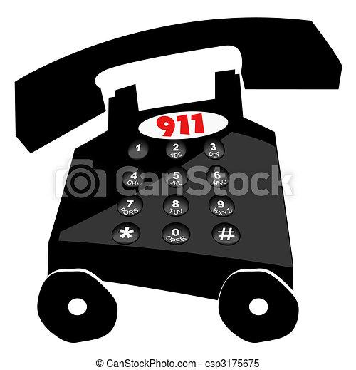 nødsituation, -, telefon, hast, 911, ringer - csp3175675