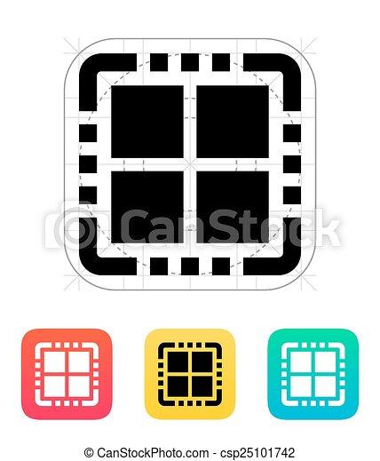 CPU icono del núcleo Quad. Ilustración de vectores. - csp25101742