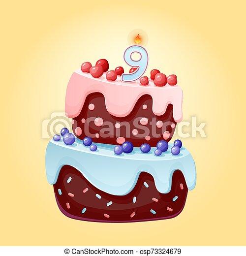 Lindo dibujo animado 9 años pastel festivo con la vela número nueve. Galletas de chocolate con bayas, cerezas y arándanos. Para fiestas, aniversarios - csp73324679