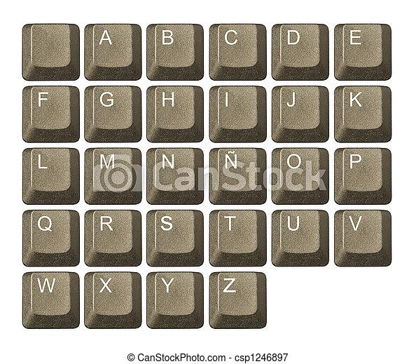 número, símbolos, llave computadora, teclado, carta - csp1246897