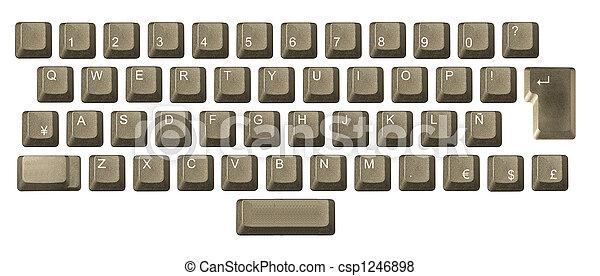 número, símbolos, llave computadora, teclado, carta - csp1246898