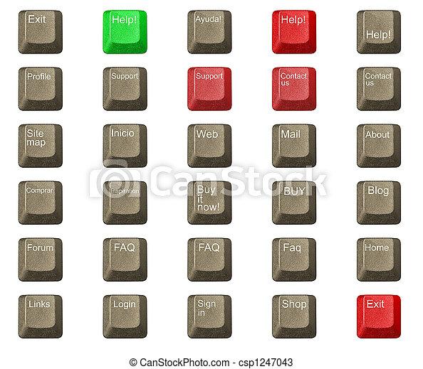 número, símbolos, tecla computador, teclado, letra - csp1247043